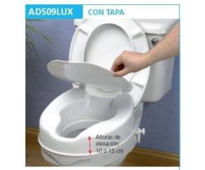 ASIENTO ELEVADOR WC DE 15 CM CON TAPA - AYUDAS DINAMICAS